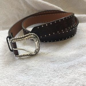 Women's New Aria Brown Studded Leather Belt